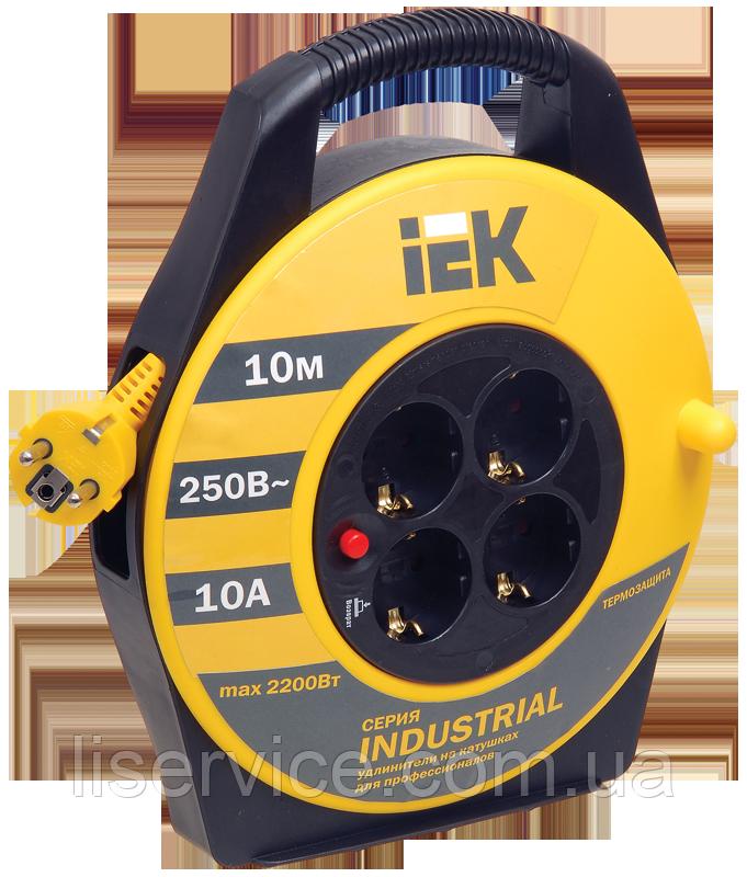 """Подовжувач промисловий на котушці УК10 з т/з 4 місця 2Р+РЕ/10м 3х1,5 мм2 """"Industrial"""""""