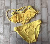 Купальник детскийдля девочки раздельный с лапшой 6-10лет, желтого цвета