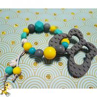 Грызунок из пищевого силикона браслетик с Бабочкой, ассорти цветов