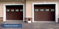 Секционные гаражные ворота с окнами