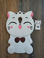 Объемный 3D силиконовый чехол для Meizu M3s Кошечка белая