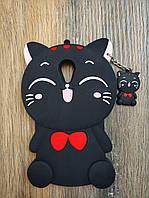 Объемный 3D силиконовый чехол для Meizu M2 mini Кошечка черная