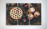 Современная картина на стену для кухни Выпечка Ягоды Яблоки Натюрморт 90х60 из 3-х частей