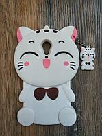 Объемный 3D силиконовый чехол для Meizu M2 mini Кошечка белая