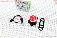 Фонарь задний на велосипед, 3 диода 10 lumen, Li-ion 3.7V 650mAh зарядка от USB, влагозащитний, HJ-030