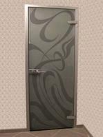 Межкомнатные двери в алюминиевой коробке-стекло бронза