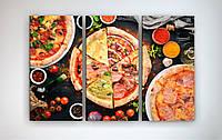 Картина декоративная на стену в кухню Пицца Яркий фон 90х60 из 3-х частей