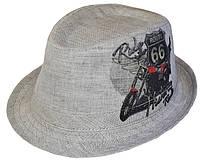 Шляпа челентанка фотопринт лен кофе Мото 66