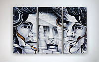 Модульная картина печать на холсте Абстракция Лицо Силуэт Черно-белая 90х60 из 3-х частей