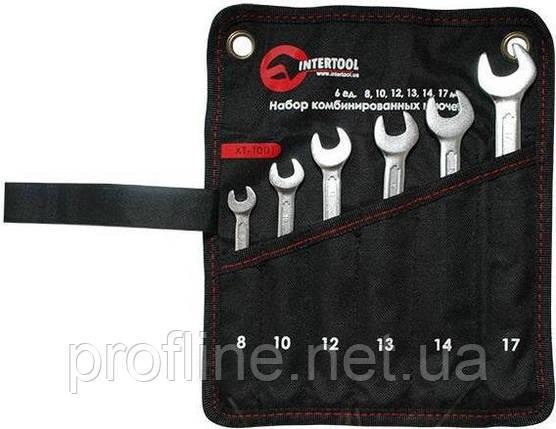 Набор ключей комбинированных на полотне 6 ед 8-17 мм INTERTOOL XT-1001, фото 2