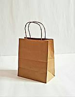 Пакет паперовий крафт для магазинів з крученими ручками 220x190x120 мм