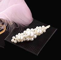 Заколка невидимка для волос с Жемчугом XDP03/цвет белый, сталь/ размер 9*3см