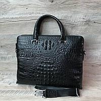 Стильный мужской кожаный портфель с выделкой под кожу крокодила, фото 1