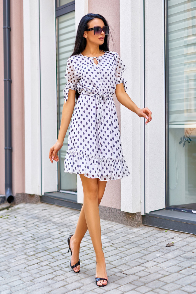 Женское летнее платье, белое в горох, молодёжное, элегантное, повседневное, нарядное