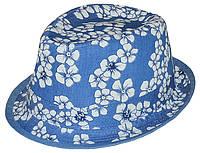 Шляпа челентанка комби джинс в цветы