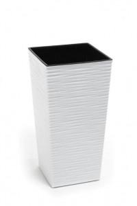 Кашпо пластмасове Фінезія, 190мм, з вкладом, Долото, БІЛИЙ