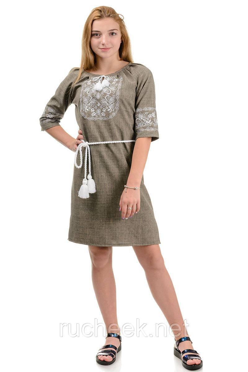 Платье - вышиванка женское лен - габардин Лилия р - ры 42 - 52