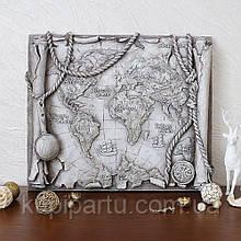 Барельеф Древняя карта мира светящаяся Гранд Презент КР 913 камень светит
