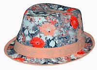Шляпа челентанка комби 3D коралл