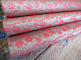 Екокожа (кожзам) на тканинній основі з квітковим принтом, колір РОЖЕВИЙ, 20х30 см
