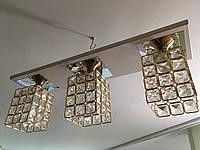 Люстра потолочная на 3 три плафона 0772 Золотистая, фото 1