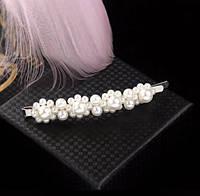 Заколка невидимка для волос с Жемчугом XDP07/цвет белый, сталь/ размер 8,5*1см