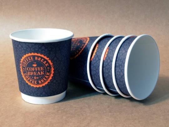 """Бумажный стакан 285 мл """"Coffee Break"""" двухслойный тёмный, фото 2"""