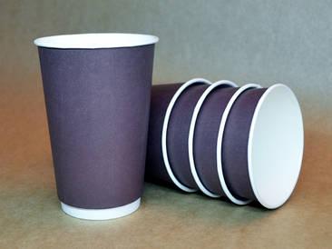 """Бумажный стакан 330мл """"Коричневый"""" двухслойный"""