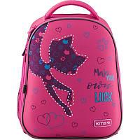 Рюкзак школьный розовый для девочки каркасный Kite Catsline k19-731m-1