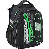 Рюкзак школьный для мальчика черный с принтом каркасный Kite Skateboard K19-731M-2