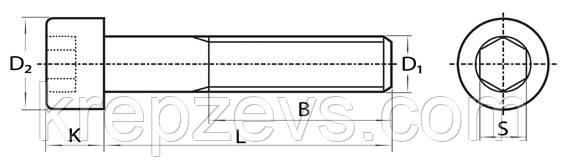Чертеж винта Винт М8×1 с мелкой резьбой DIN 912, ГОСТ 11738-84