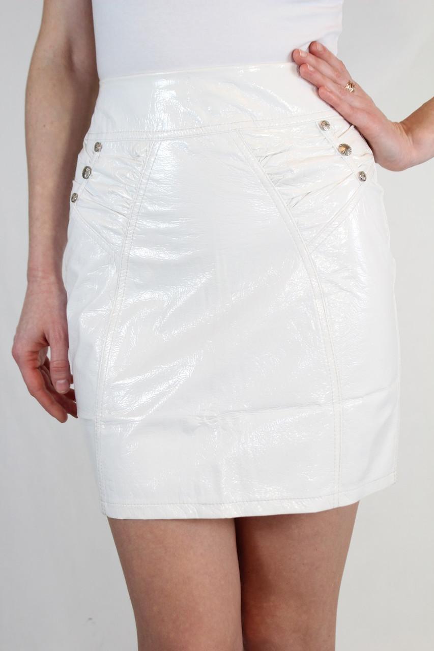 Лаковая юбка 42-48 р ( белый, черный )