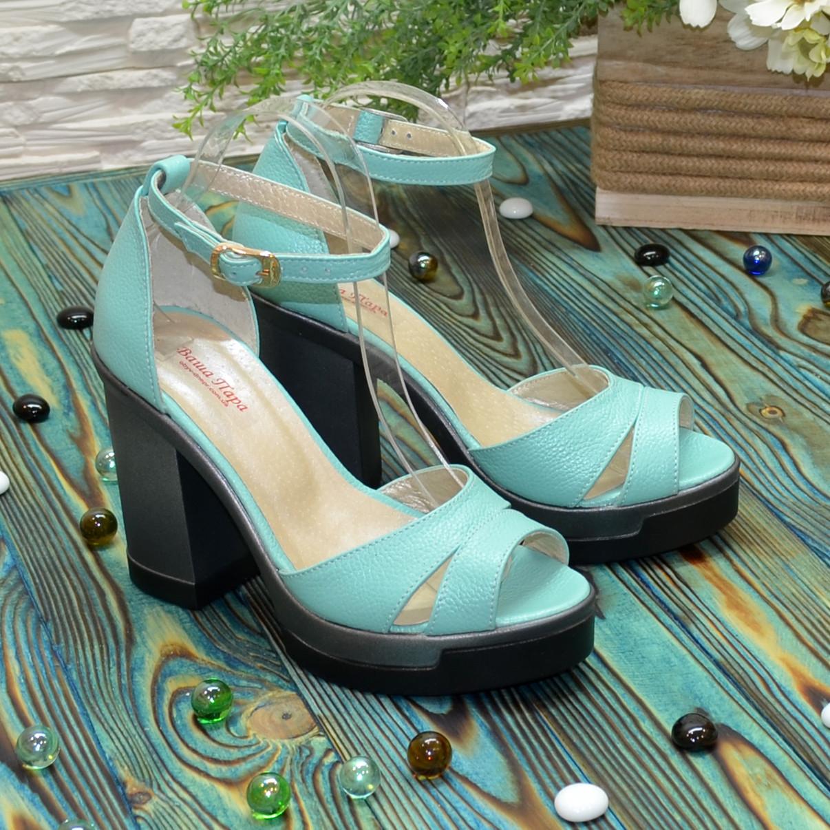 Босоножки женские кожаные на высоком каблуке, цвет мята