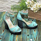 Босоножки женские кожаные на высоком каблуке, цвет мята, фото 2
