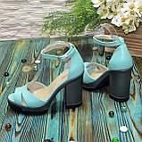 Босоножки женские кожаные на высоком каблуке, цвет мята, фото 3