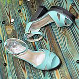 Босоножки женские кожаные на высоком каблуке, цвет мята, фото 4