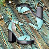 Босоножки женские кожаные на высоком каблуке, цвет мята, фото 5