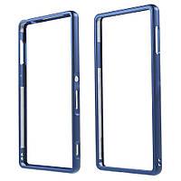 Чехол бампер Dual Aluminum Alloy для Sony Xperia Z3+ DS E6533 синий