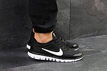 Мужские кроссовки летние Nike Free Run 3.0 черно-белые, фото 2