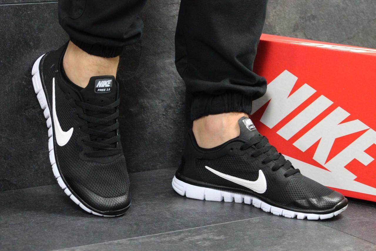 Мужские кроссовки летние Nike Free Run 3.0 черно-белые