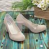 Туфлі замшеві на високому стійкому каблуці, колір бежевий, фото 2