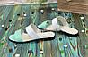 Жіночі шкіряні шльопанці на маленькому підборах, колір м'ята/білий, фото 3