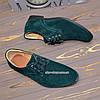 Мужские замшевые туфли на шнуровке, цвет зелёный , фото 4