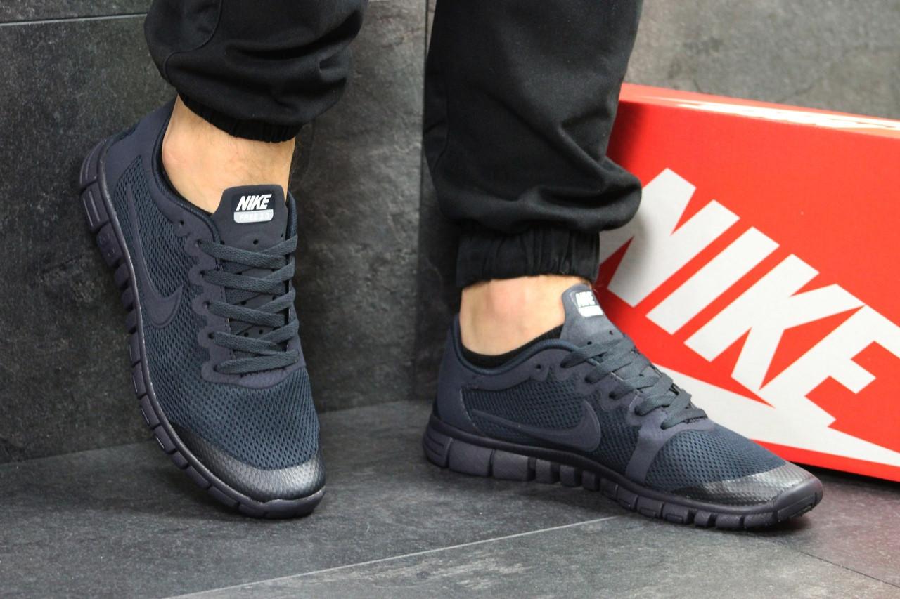 Мужские кроссовки летние Nike Free Run 3.0,темно синие