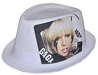 Шляпа челентанка фотопринт лен белый Lady GAGA