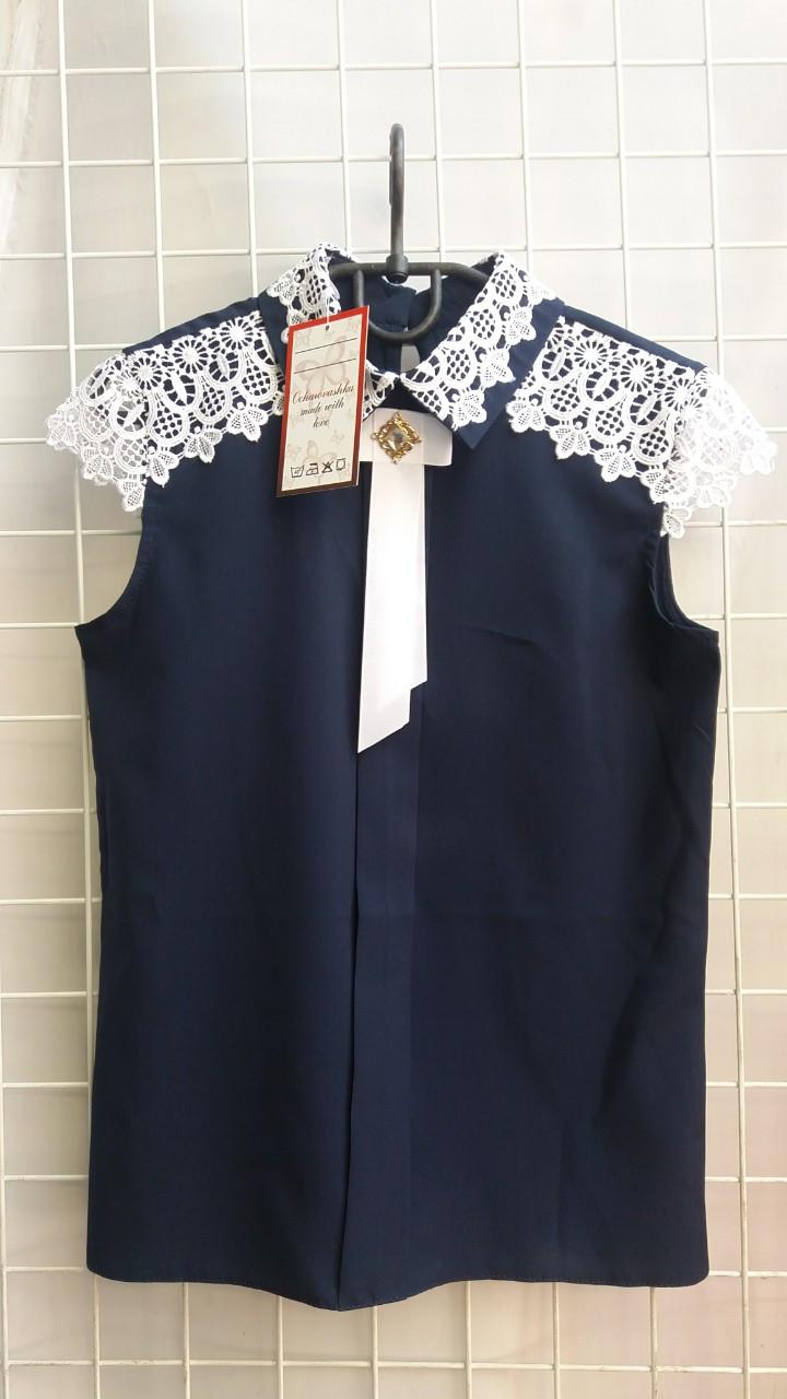 Блузка для девочки школьная р.6-14 лет опт синяя