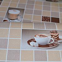 Обои для стен шпалери в кухню квадрати бежевые бежеві чашки з кавою влагостойкие 0,53*10м