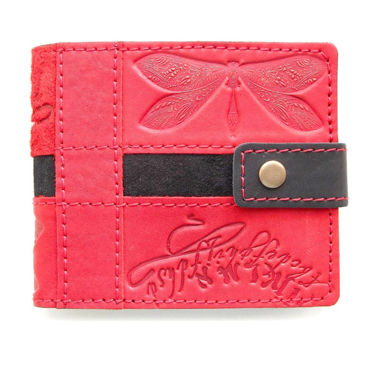 """Кошелек женский кожаный на кнопке с карманом для монет """"Стрекоза"""" (Guk). Цвет красный"""