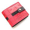 """Кошелек женский кожаный на кнопке с карманом для монет """"Стрекоза"""" (Guk). Цвет красный, фото 3"""