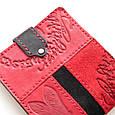 """Кошелек женский кожаный на кнопке с карманом для монет """"Стрекоза"""" (Guk). Цвет красный, фото 4"""